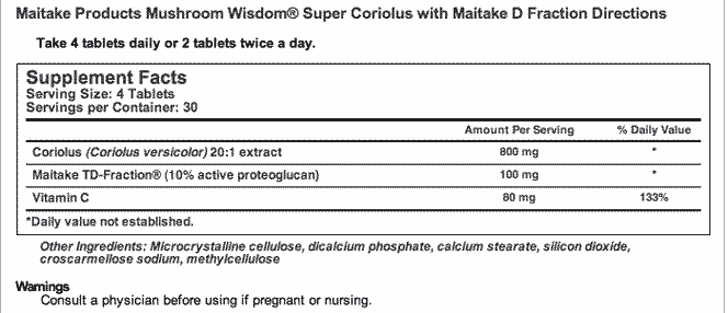údaje o doplnku stravy Super Coriolus