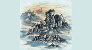 čínska ilustrácie hôr