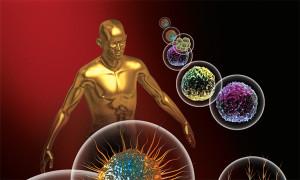 Pozlátená figúra človeka a izolované vírusy v bublinách
