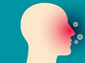 silueta hlavy človeka s alergiou