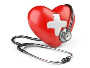 kreslené srdce a fonendoskop