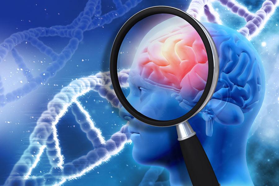Ľudský mozog pod lupou a DNA vzorec pozadia